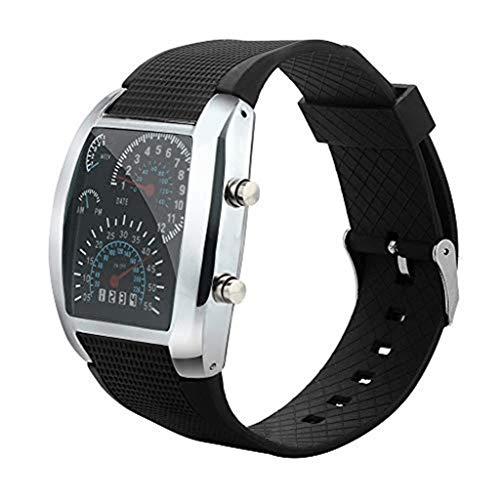 Men's Wrist Watches,Men's Fashion LED Light Flash Turbo Speedometer Sports Car Dial Meter Watch(Black) Black Dial Black Meter