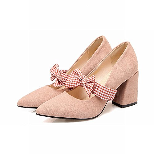 Carolbar Femmes Plaid Bowknots Bungee Élégance Bout Pointu Mary Janes Chaussures Rose Nude