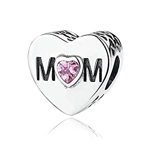Qings 925 Sterling Silver Mum Heart Charm with Pink Crystal For European Style Charm Bracelets