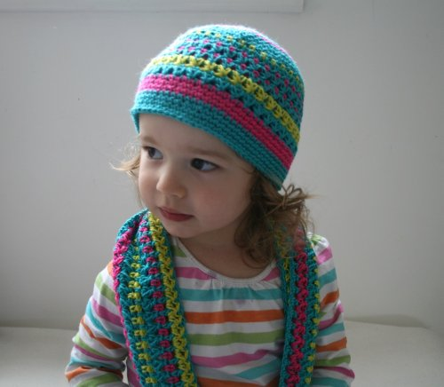 (Crochet pattern stripped beanie and scarf set (75) includes 5 sizes from newborn to)