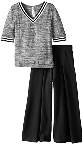 Beautees Big Girls' Sporty Top and Wide Leg Pants Set, Black, Large