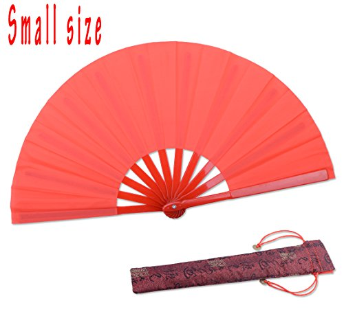 Dance Folding Hand Gift Fan-Red Small Chinese Kung Fu Tai Chi Plastic-Nylon Hand Held Folding Fans for Men/Women/Children with a Fabric Case for Protection 11.8inch (Red)