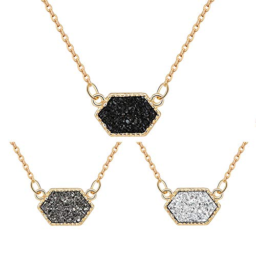 MissNity Women Chic Simulated Druzy Stone Pendant Necklace Set 14k Gold Plated Black Grey White Sparkly Bohemian Jewelry for Keen Girls (B3-Gold+Black/Grey/White) ()