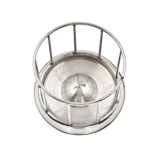 - lychee Silver Stainless Steel Turtle Bowl Food Tray Round Railing Shape Reptile Feeder