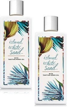 Body and Body Works Island White Sand Super Smooth Body Lotion 8 Ounce Each Set of 2 (Body White Rose Lotion)