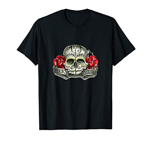 Lucky Number 13 Thirteen Distressed T-Shirt Skull and Roses