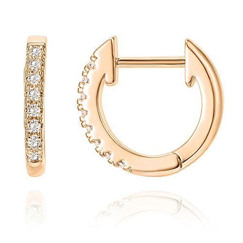 PAVOI 14K Rose Gold Plated Sterling Silver Post Cubic Zirconia Cuff Earring Huggie Stud by PAVOI