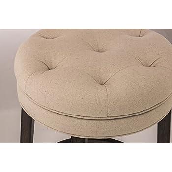 HillsdaleKrauss Backless Swivel Bar Stool, Charcoal Gray Finish with Linen Stone Fabric