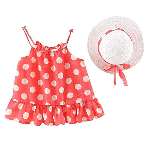 terbklf 2Pcs/Set Toddler Baby Girls Elegant Floral Dot Printed Ruched Suspender Princess Dress Casual Wear Clothes+Hat Red