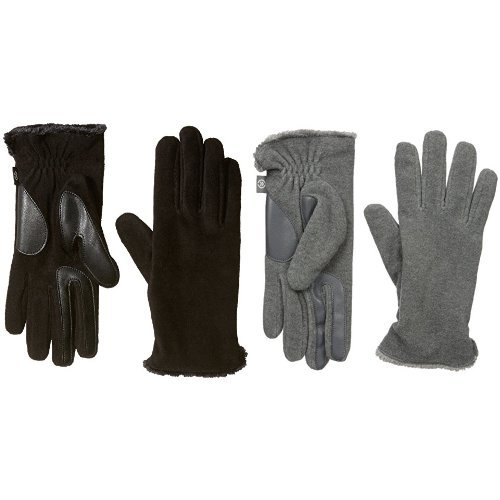 Isotoner Women's Stretch Fleece smarTouch Gloves with Spill, Black/Oxford Heather 2 Pack, One Size