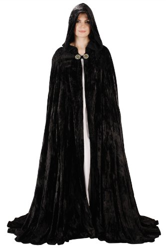 Armor Venue - Midnight Fantasy Cloak - Medieval Cape Costume - Black One Size Fit (Adult Midnight Black Cape)