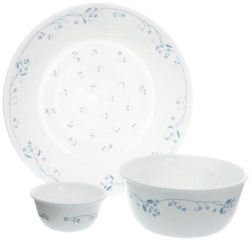 Corelle Essential Provincial Blue Round Dinner Set, 14-Pieces