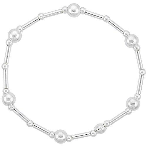 Sterling Silver 6mm Bead Stretch Bangle Bracelet