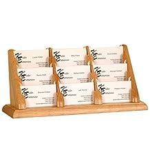 Wooden Mallet 9-Pocket Countertop Business Card Holder, Light Oak
