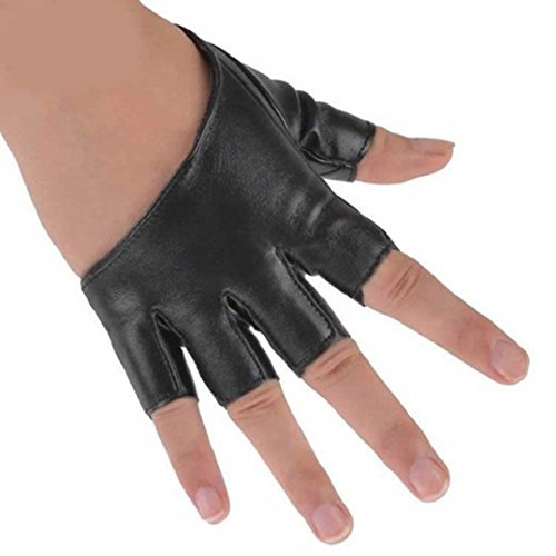Leather Gloves Half Finger Pole Dancing Punk Gloves - Black (Leather Pole)