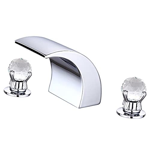 Greenspring Waterfall Widespread Crystal Handles Bathtub Faucet Spa Spout  Tub Sink Tap,Chrome Finished