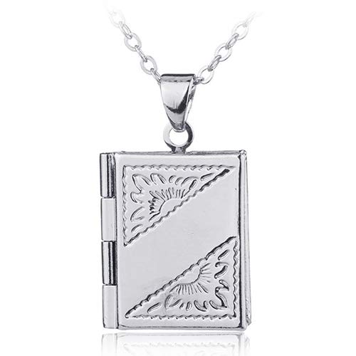 BYyushop Unisex Book Rectangle Photo Locket Square Box Pendant Chain Necklace Jewelry