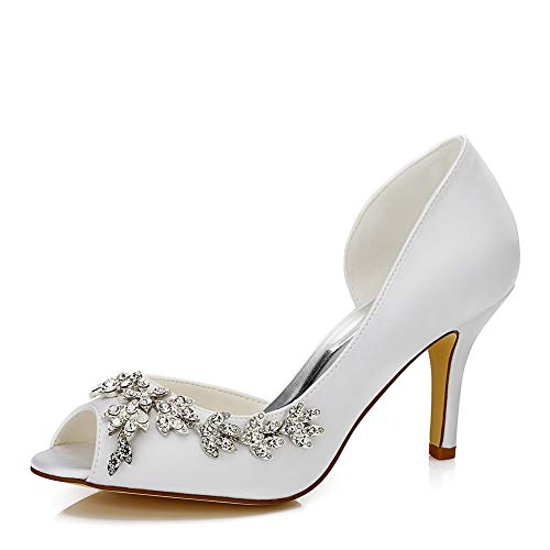 (Women's Satin Stiletto Heel Peep Toe Sandals with Rhinestone Pointy Dress Pump Shoes,3.15