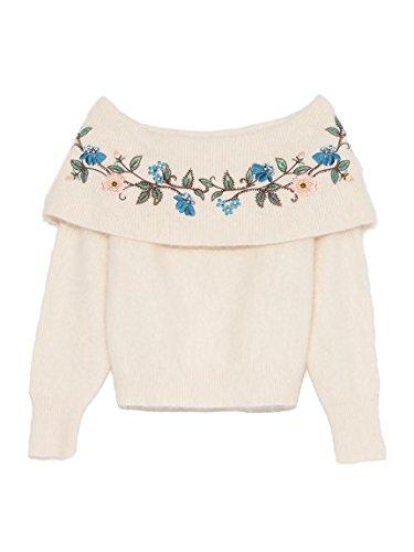 Amazon | Lily Brown(リリーブラウン)[L.B CANDY STOCK]刺繍オフショルニット OWHT F | セーター 通販