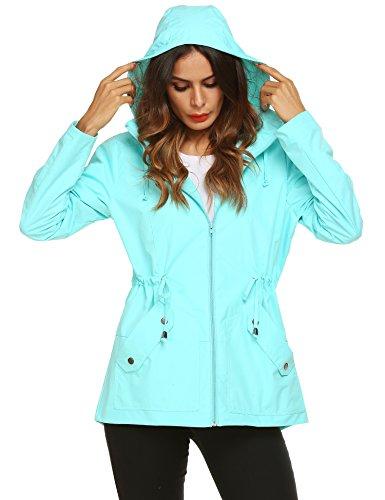 Romanstii Raincoat,Women's Waterproof Hooded Lined Light Rain Jacket Outdoor Active Travel