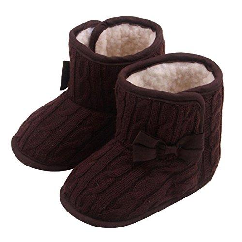 Bebe zapatos del nino - SODIAL(R)Bebe Bowknot Zapatos de suela blanda Invierno zapatos calientes Botas (Cafe, 13cm) Cafe