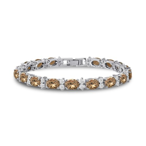 Kezef Cubic Zirconia Tennis Bracelet CZ Round Cut White Oval Cut Champagne Colored Silver Plated Brass 7 in
