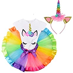 LYLKD Little Girls Unicorn Outfit Dress,...