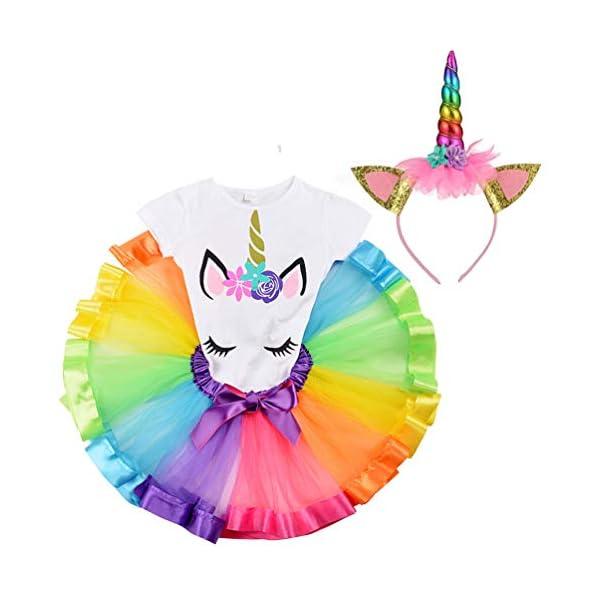LYLKD Little Girls Unicorn Outfit Dress,Layered Rainbow Tutu Skirt,Unicorn T-Shirt and Unicorn Horn Headband. 3