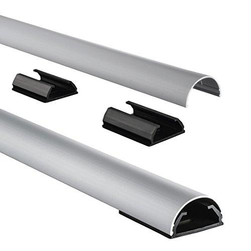 Hama Kabelkanal Alu (Aluminium, halbrund, 110 x 3,3 x 1,8 cm, bis zu 5 Kabel, 4 Halteclips), silber