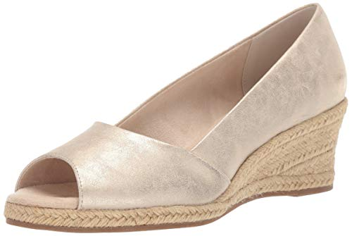 Easy Street Women's Monique Espadrille Open Toe Pump Wedge Sandal, Gold Metallic 11 M US