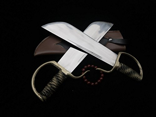 Chinese-Kung-FuWing-Chun-Bart-Cham-DaoStainless-steel-bladeLeather-ScabbardCopper-fitted