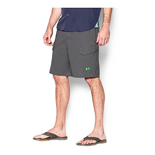 Under Armour Mens Fish Hunter Cargo Shorts  Granite Green Energy  36
