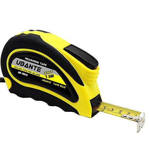 UBANTE Measuring Tape Measure with Auto Locking 1-Inch x 25-Foot(7.5m) Retractable Heavy Duty with Magnetic Hook, Metric and Inches Measurement - Professional Ruler For Carpenter, Construction , DIY Professional 25' Tape Measure