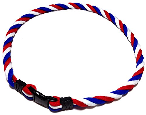 Sport Ropes Triple Twist Titanium Necklace (Red/White/Blue, 18