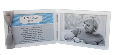 Grandson Love, Grandma Poem White Double Hinged 4 x 6 Photo Frame with Ribbon by The Grandparent Gift Co.