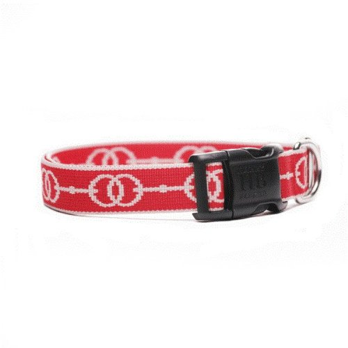 Deauville Designer Dog Collar- Red and Tan Large