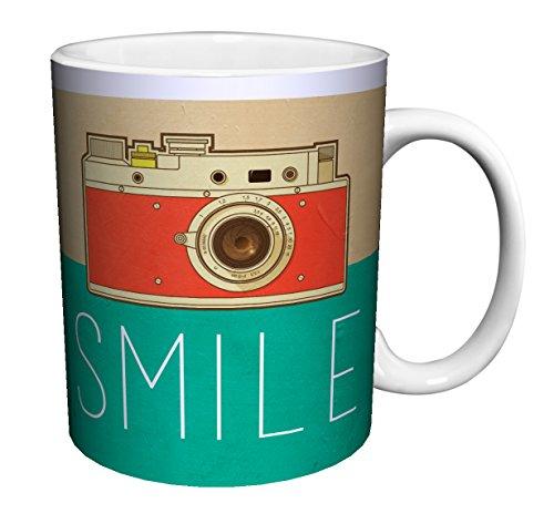 Camera Smile Retro Vintage Hipster Decorative Inspirational Art Ceramic Gift Coffee (Tea, Cocoa) 11 Oz. Mug (Decorative Mug)