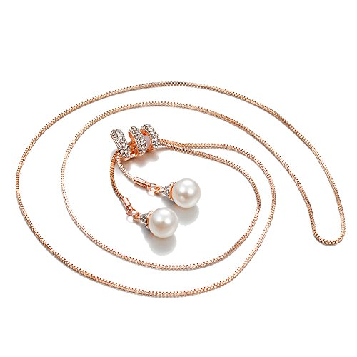 (LiboboLadies Fashion Charm Crystal Pearls Pendant Necklace Luxury Long Necklace Sweater (Rose Gold))