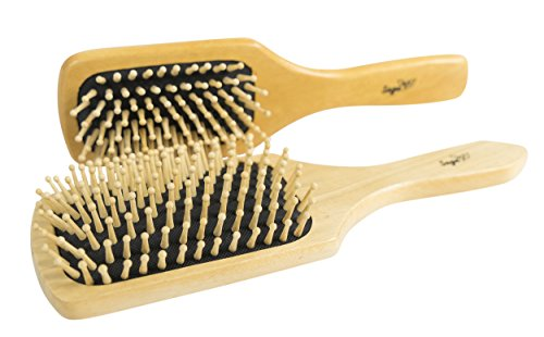 NEW - Sage Natural Wooden Bristle Hair Brush Set - 2 Pack Anti-Static Paddle Hairbrushes (Eco Hair Dryer Brush compare prices)