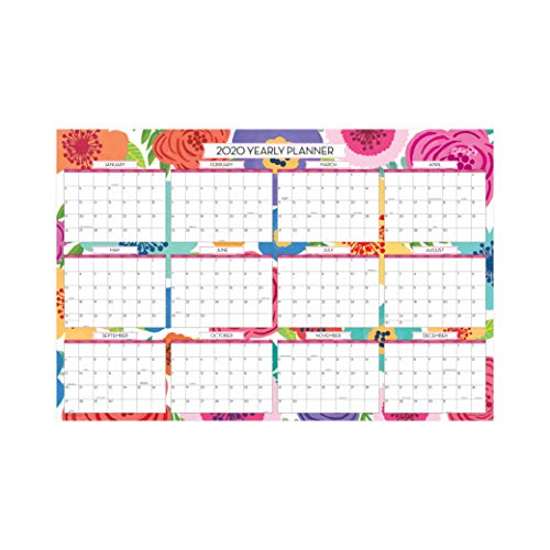 Blue Sky 2019-2020 Academic Year Monthly Laminated Erasable Wall Calendar, Double Sided, 36