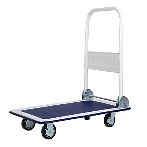 New Blue 330lbs Platform Cart Dolly Folding Foldable Moving Warehouse Push Hand Truck from Apontus