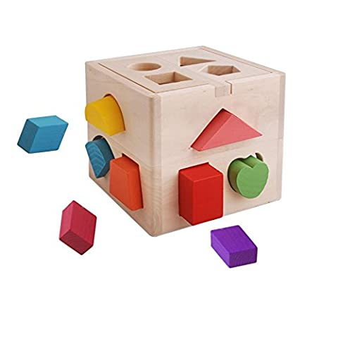 CECII 13 Hole Wooden Shape Sorting Box for Shape Sorter Cognitive and Matching Wooden Toys, Baby Children's Educational - Log Seven Drawer Dresser