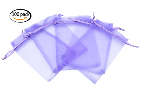 Set of 100 4x6 Inches Sheer Organza Drawstring Pouches for Festival Wedding Party Favor Candy Wrap Bags by JSSHI(Light purple) (Organza Sheer Favor Bags)