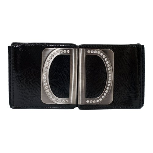 eVogues Women's Rhinestone Accented Wide Elastic Belt Black - One Size -