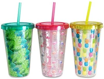 34a8517b4e4 Double Wall Tumbler Cups with Lids and Straws for Outdoor Pool Parties,  BBQs, Bachelorette Parties and Summer Fun. Yellow Pineapple, Pink Flamingo  and ...