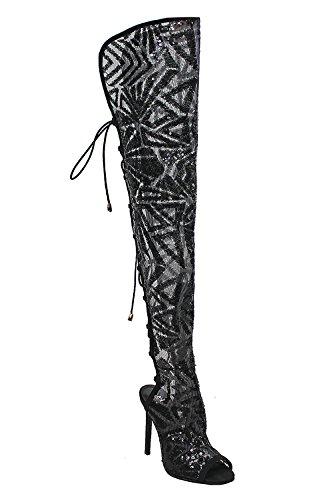 Genx Femmes Silhouette Maille Bottes Paillettes Design Avec String Arrière Barbara-95 Noir