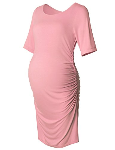 Maternity Dress,Bodycon Maternity Clothes For Women,Casual Short Sleeve Ruched Sides, Pink (Clothes Pink Dress)