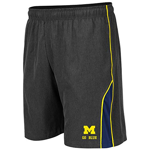 Colosseum NCAA Mens Basketball Shorts - Athletic Running Workout Short-Charcoal with Team Colors-Michigan Wolverines-Large