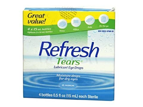 Refresh Tears Lubricant Eye Drops, Moisture Drops for Dry Eyes. 4- .5 fl oz. bottles (Refresh Contacts)