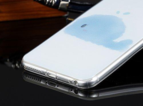 """JewelryWe Blaue Wolken Wal TPU Silikon Handy Case Schutzhülle Tasche Hülle Rückenschutzhülle Etui für Apple iPhone 6 Plus(5,5""""), Transparent"""